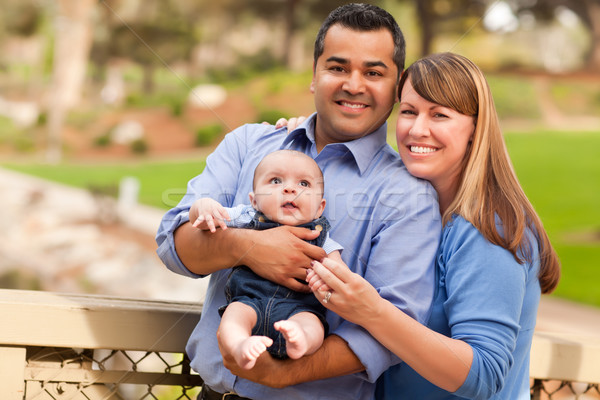 Stock photo: Happy Mixed Race Family Posing for A Portrait