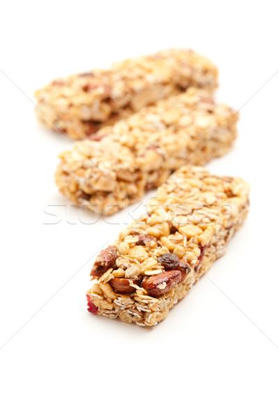 Stok fotoğraf: üç · granola · çubuklar · yalıtılmış · beyaz · dar