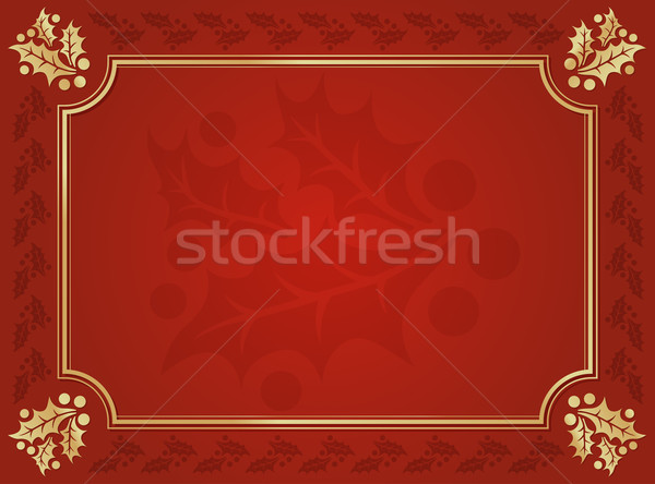 Red and Gold Holly Trimmed Background Stock photo © feverpitch