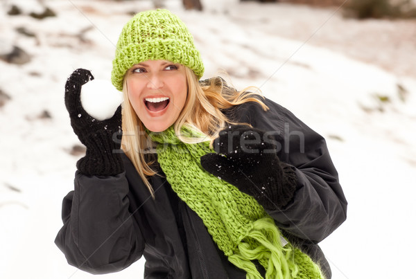 Atrakcyjna kobieta śniegu zimą dzień szczęśliwy Zdjęcia stock © feverpitch