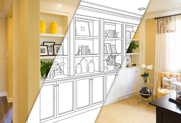 Custom Built-in Shelves and Cabinets Design Drawing with Cross S Stock photo © feverpitch