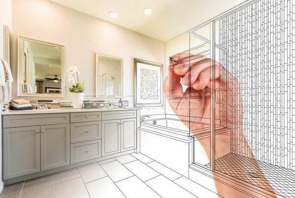 Hand Drawing Custom Master Bathroom with Photo Gradation Stock photo © feverpitch