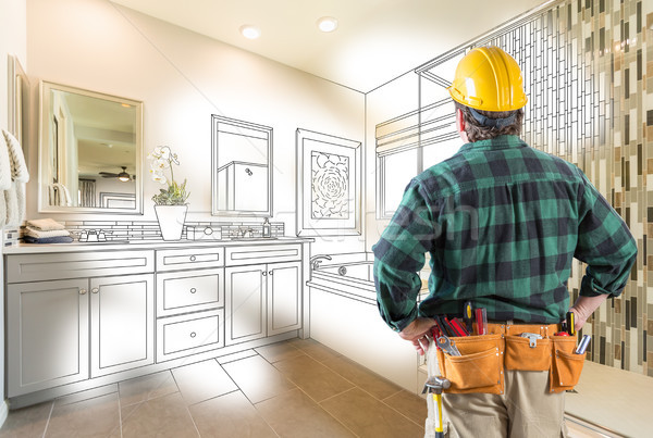 Contractor Facing Custom Master Bathroom Drawing and Photo Grada Stock photo © feverpitch
