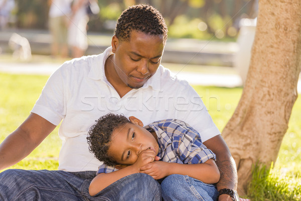 African American Father Worried About His Mixed Race Son Stock photo © feverpitch