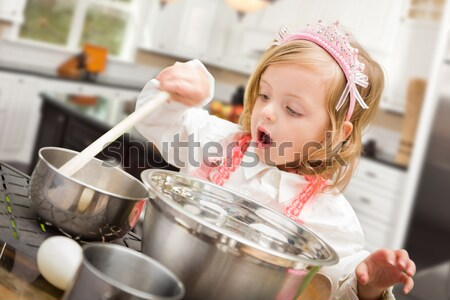 Stock photo: Adorable Little Girl Playing Chef Cooking