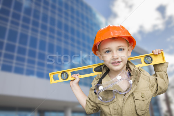Child Boy Dressed Up as Handyman in Front of Building Stock photo © feverpitch