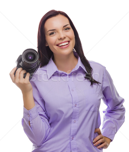 Attractive Mixed Race Young woman With DSLR Camera on White Stock photo © feverpitch