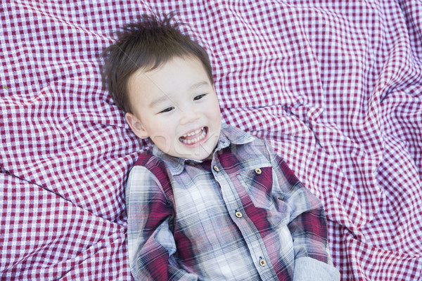 Cute Young Mixed Race Boy Laughing On Picnic Blanket Stock photo © feverpitch