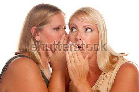 Two Blonde Woman Whispering Secrets Stock photo © feverpitch