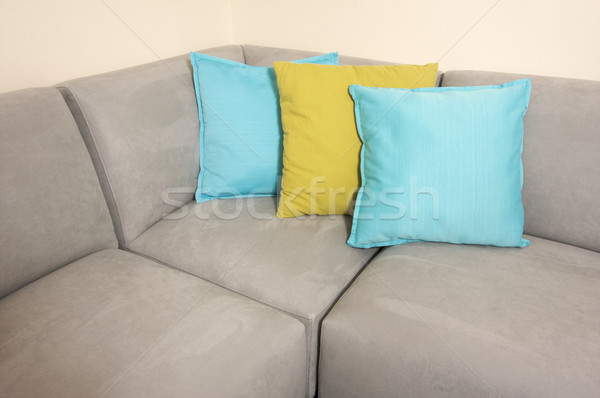 Grey Suede Couch & Pillows Stock photo © feverpitch