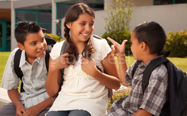 Stockfoto: Cute · broers · zus · klaar · school
