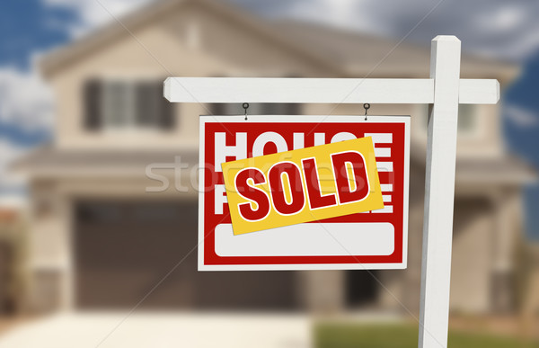 Sold Home For Sale Sign in Front of New House  Stock photo © feverpitch