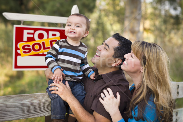 Mixed Race Couple, Baby, Sold Real Estate Sign Stock photo © feverpitch