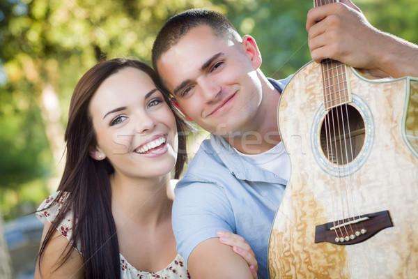 混血 カップル 肖像 ギター 公園 優しい ストックフォト © feverpitch
