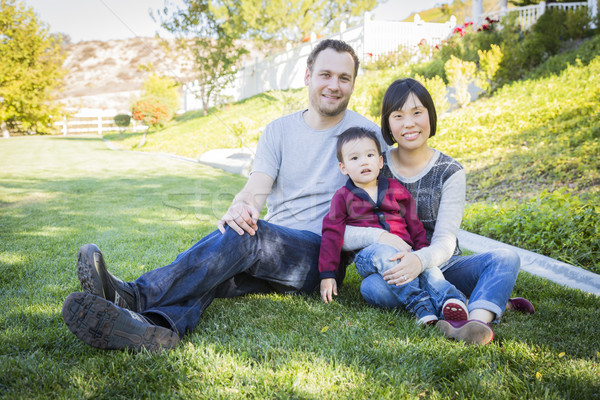 Mixed Race Family Having Fun Outside Stock photo © feverpitch