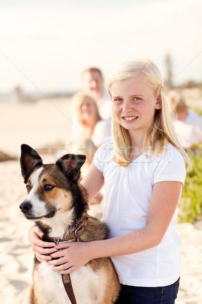 Foto d'archivio: Curare · ragazza · giocare · cane · fuori · cute