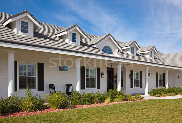 Hermosa casa fachada cielo azul familia madera Foto stock © feverpitch