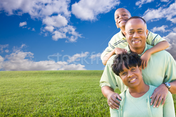 Happy Family Over Grass Field, Clouds and Sky Stock photo © feverpitch