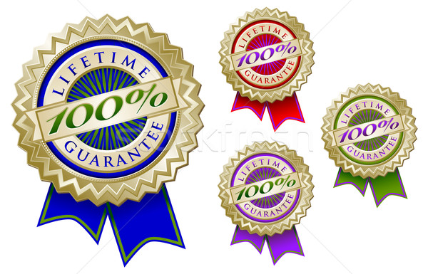 Stock photo: Set of Four Colorful 100% Lifetime Guarantee Emblem Seals With R