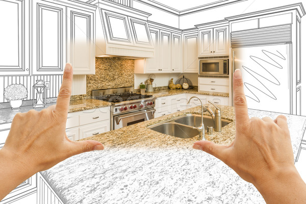 Hands Framing Custom Kitchen Design Drawing and Square Photo Com Stock photo © feverpitch