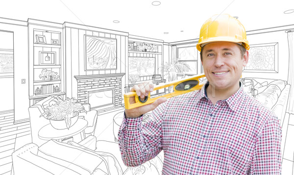 Contractor in Hard Hat Over Custom Living Room Drawing Stock photo © feverpitch