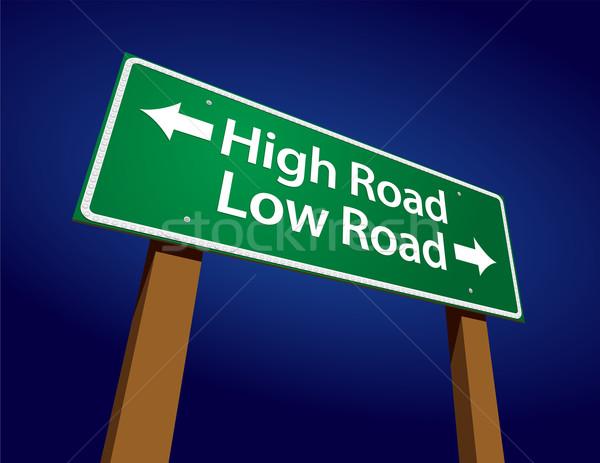 Foto stock: Alto · estrada · baixo · verde · placa · sinalizadora · ilustração