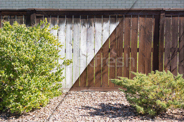 Fence Before and After Solid Paint Stain Application Stock photo © feverpitch