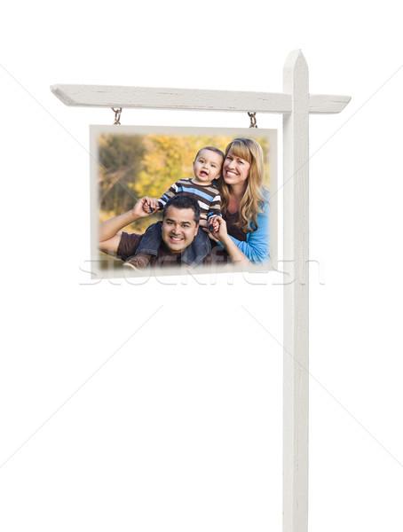Stock fotó: Ingatlan · felirat · félvér · család · izolált · vágási · körvonal