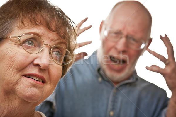 Foto stock: Pareja · de · ancianos · argumento · enojado · terrible · hombre · Pareja