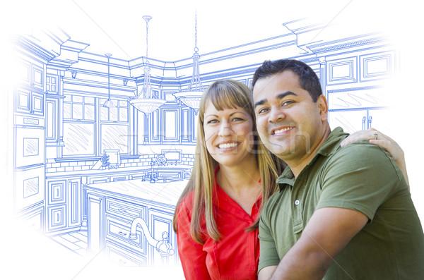 Foto stock: Casal · cozinha · projeto · desenho · branco