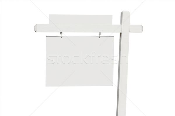 Stockfoto: Onroerend · teken · geïsoleerd · witte · wolken · Blauw