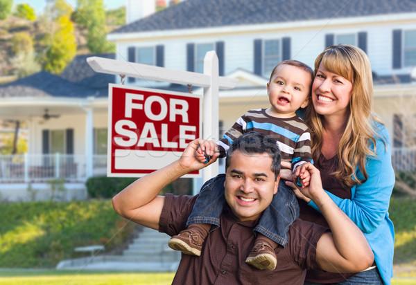 Fiatal család vásár felirat ház boldog Stock fotó © feverpitch