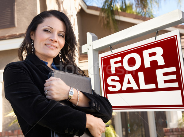 Female Hispanic Real Estate Agent, For Sale Real Esate Sign and  Stock photo © feverpitch