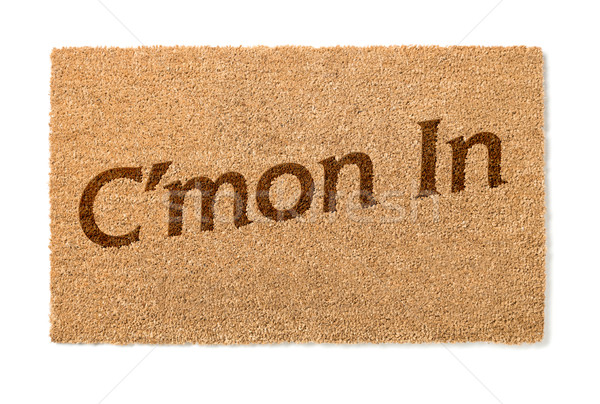 Cmon In Welcome Mat On White Stock photo © feverpitch