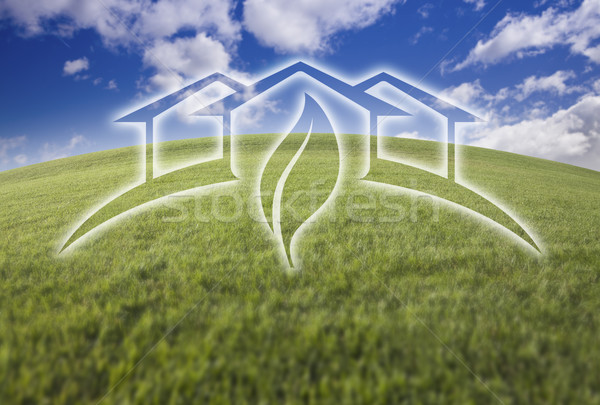 Green House Ghosted Over Fresh Grass and Sky Stock photo © feverpitch