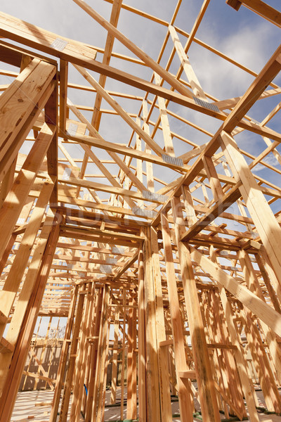 New Construction Home Framing Abstract Stock photo © feverpitch