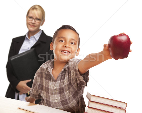 Hispanic Student Boy with Apple and Female Adult Behind. Stock photo © feverpitch