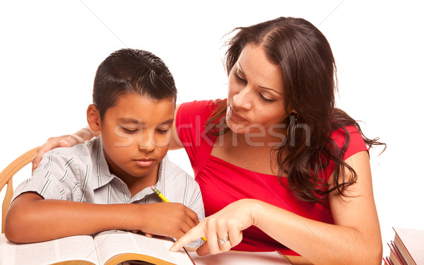 Attractive Hispanic Mother and Son Studying Stock photo © feverpitch