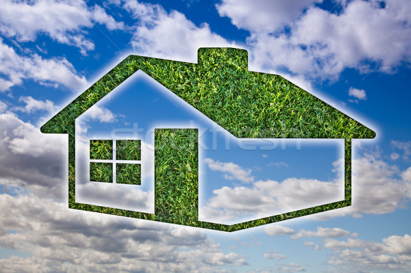 Green Grass House Icon over Sky and Clouds Stock photo © feverpitch