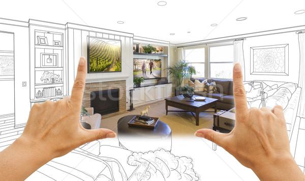 Eller oturma odası çizim fotoğraf kombinasyon Stok fotoğraf © feverpitch