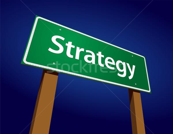 Foto stock: Estratégia · verde · placa · sinalizadora · ilustração · abstrato · arte