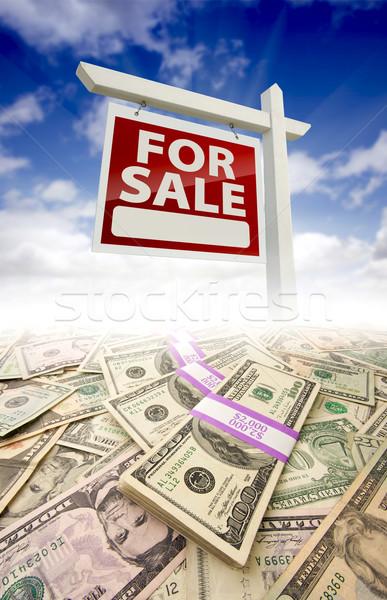 Argent vente immobilier signe ciel bleu Photo stock © feverpitch