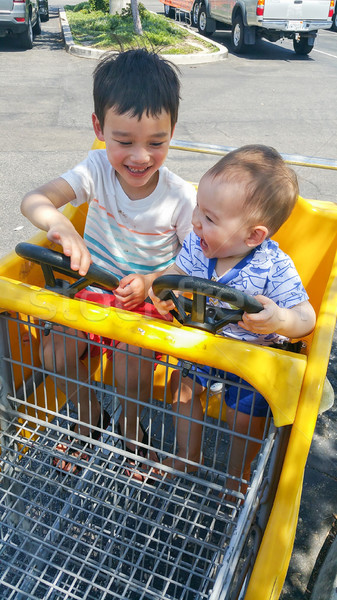 Adorable Chinese and Caucasian Baby Boy and Brother Having Fun i Stock photo © feverpitch
