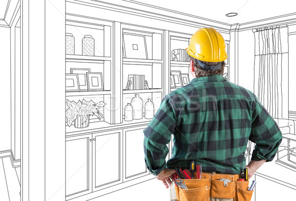 Contractor Facing Custom Built-in Shelves and Cabinets Wall Desi Stock photo © feverpitch