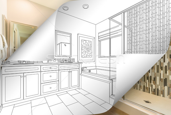 Master Bathroom Drawing Page Corners Flipping with Photo Behind Stock photo © feverpitch
