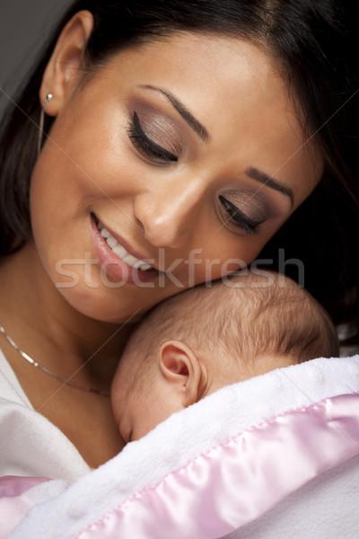 Stok fotoğraf: çekici · etnik · kadın · bebek · genç