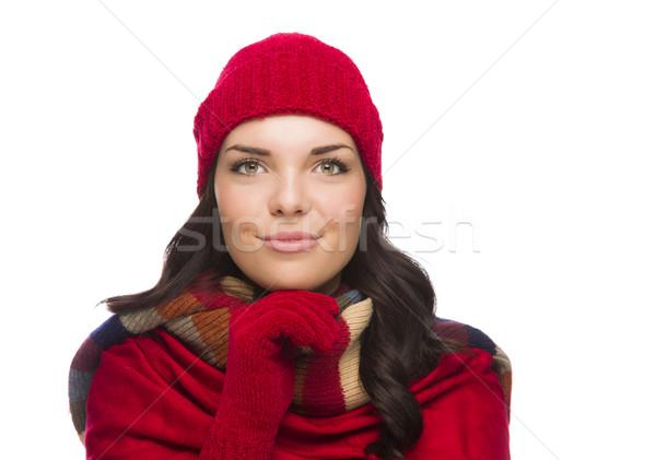 Stok fotoğraf: Mutlu · kadın · kış · şapka