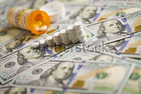 Medicine Pills Stacked on Newly Designed One Hundred Dollar Bill Stock photo © feverpitch
