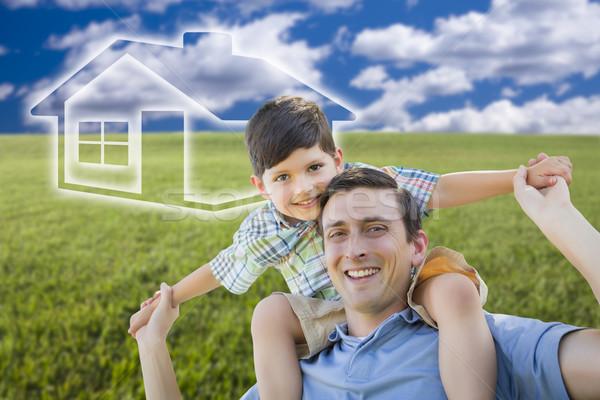 отцом сына травой поле небе дома икона возбужденный Сток-фото © feverpitch
