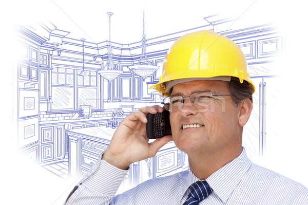 Beszállító munkavédelmi sisak telefon vám konyha rajz Stock fotó © feverpitch